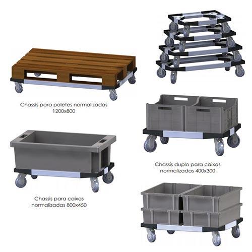 Chassis Porta Caixas com Rodízios / Rodízios com ou sem travão